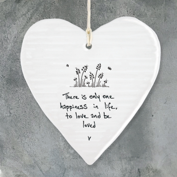 White Ceramic Slogan Heart