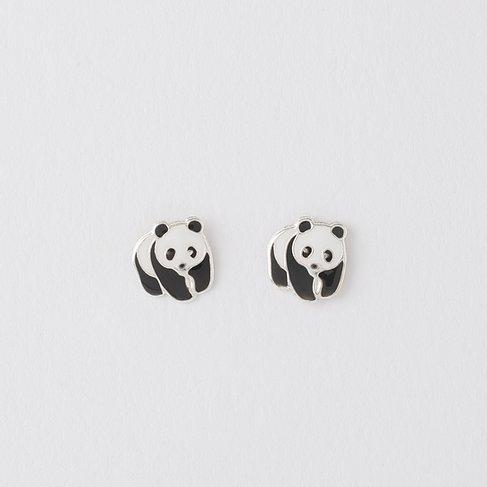 Silver Panda Earrings