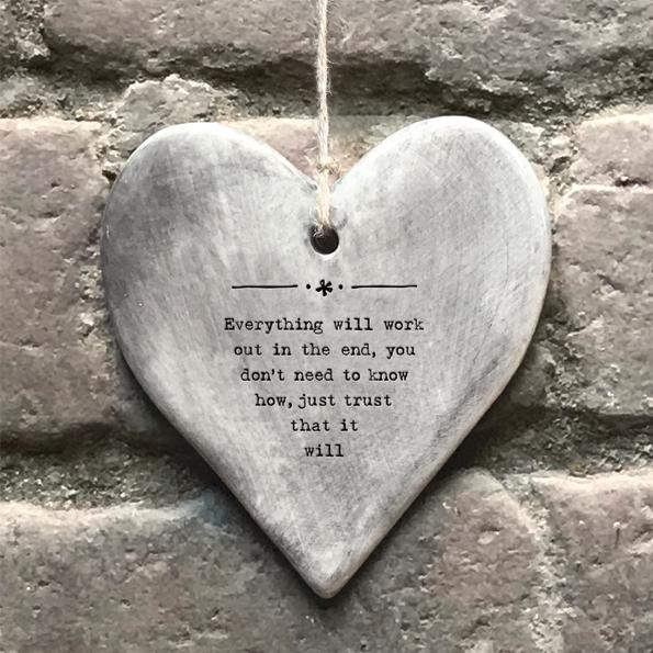 Grey Ceramic Slogan Heart
