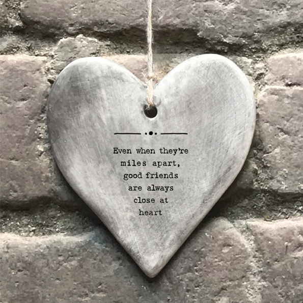 Grey Ceramic Slogan Heart