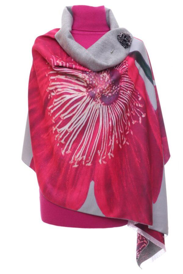 Grey Shawl with Pink Flower