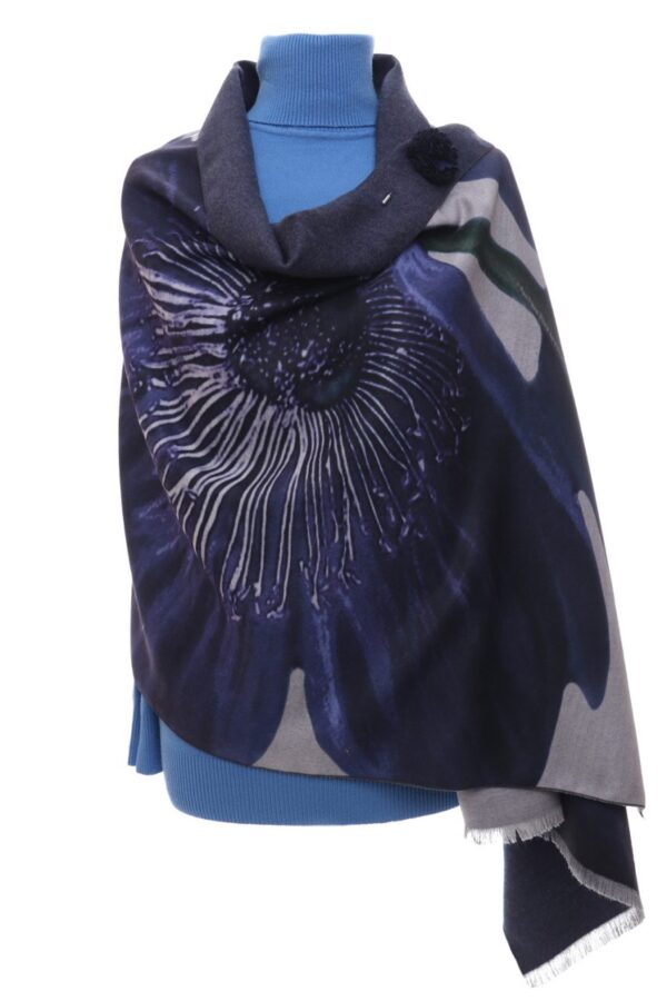 Grey Shawl with Blue Flower