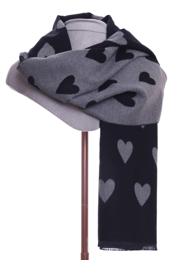 Grey and Black Heart Scarf