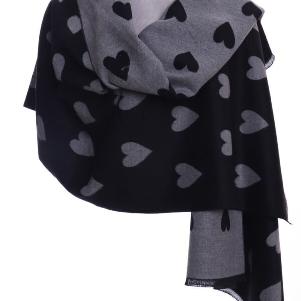 Grey and Black Heart Shawl