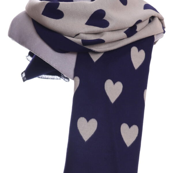 Tan and Blue Heart Scarf