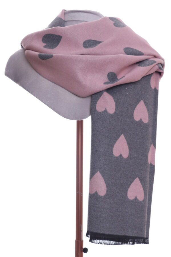 Grey And Pink Heart Scarf