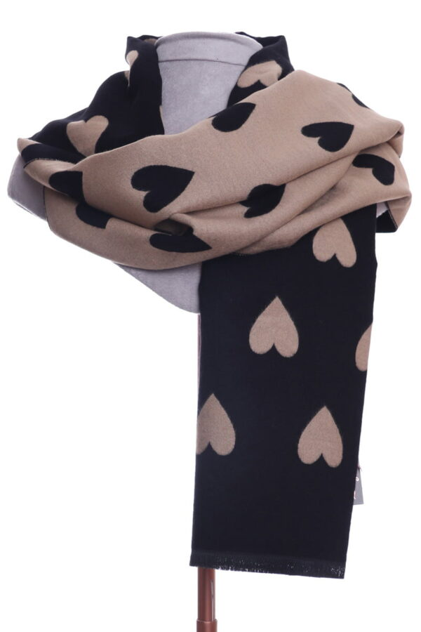Tan and Black Heart Scarf