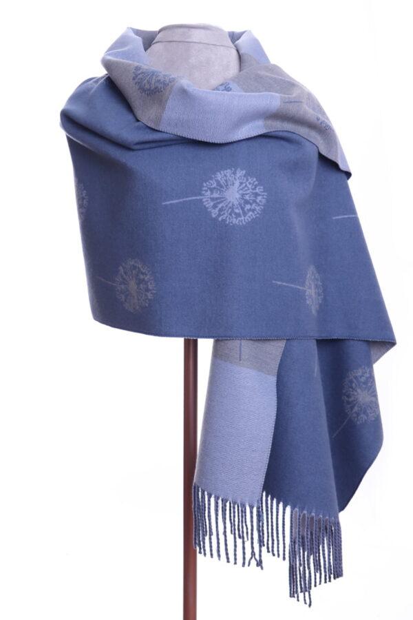 Reversible Blue Flower Shawl