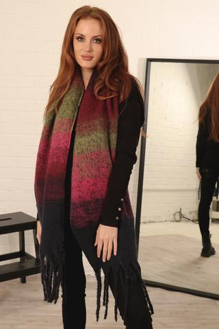 Red to Green Ombre Scarf