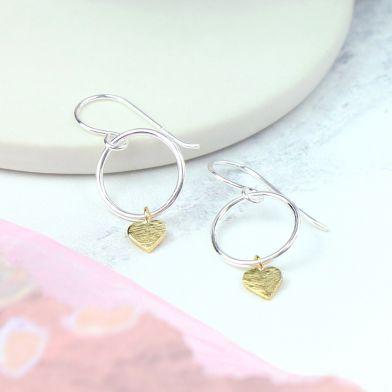 Hoop Earrings with Heart