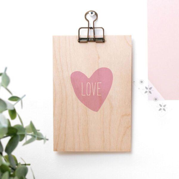 Love Heart Wooden Clipboard