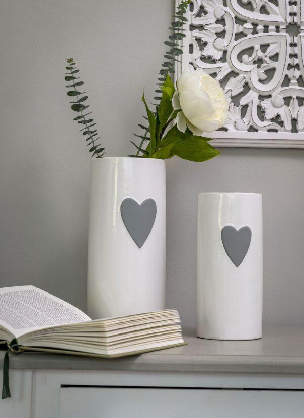 White Ceramic Heart Vase