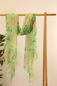 Green and Pink Tropical Floral Scarf